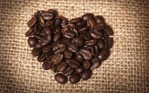 Обои сердце, кофе, зерна, мешковина