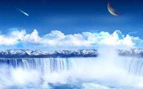 Картинка горы, коллаж, Водопад