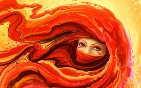 Картинка девушка, рисунок, тату, арт, повязка, рыжая