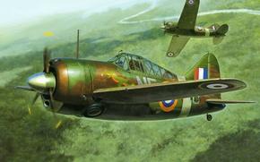 Обои WW2., арт, самолет, палубный, истребитель, ВМС, F2А Буффало, F2A Buffalo, брюстер, США
