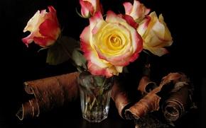 Картинка цветок, вода, цветы, стакан, розы, букет, кора, красивые, береста