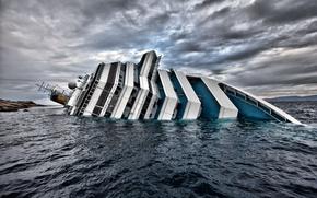 Обои wallpapers, корабль, Италия, обои, лайнер, Costa, конкордия, Concordia, коста, титаник, крушение, Лайнер