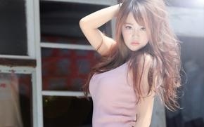 Картинка взгляд, волосы, азиатка