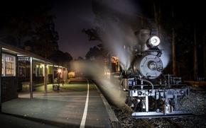 Картинка ночь, поезд, станция