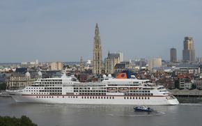 Обои Antwerp, Антверпен, Scheldt River, лайнер, Бельгия, Belgium, город, катер, круиз, круизный лайнер, река Шельда
