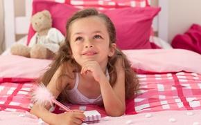 Обои дети, детство, милая, кровать, ребенок, Мишка, ручка, блокнот, notebook, симпатичная, child, bed, lovely, cute, childhood, ...