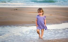 Обои море, настроение, девочка