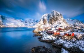 Обои Лофотен, Lofoten, домики, горы, зима, фьорд, Norway, Хамнёй, деревня, вода, Hamnoy, Норвегия
