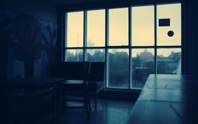 Картинка капли, темнота, комната, дождь, окно