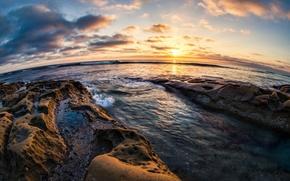 Картинка закат, камни, побережье, горизонт, Калифорния, Pacific Ocean, California, San Diego, Тихий океан, Сан-Диего, Ла-Хойя, La …