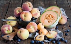 Картинка черника, абрикос, персик, ежевика, melon, peach, дыня, blueberry, apricot, BlackBerry, summer fruits and berries, летние ...