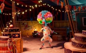 Картинка Клоун, Зебра, Прическа, Пятна, Смех, Мадагаскар, Madagascar, Мультфильм, Мартин, Цирк