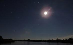 Картинка Небо, Природа, Облака, Дома, Звезды, Река, Луна, Растения, Станица