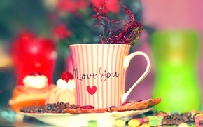 Обои кофе, чашка, I Love You