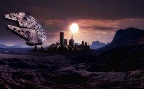 Картинка планета, станция, Star Wars, арт, звездные войны, купол, millennium falcon, тысячелетний сокол