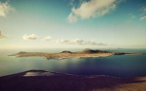 Картинка Небо, Вода, Облака, Море, Фото, Горы, Остров, Холмы, Высота, Пейзаж
