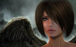 Картинка взгляд, девушка, лицо, рендеринг, крылья, ангел