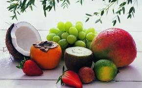 Картинка еда, кокос, киви, клубника, виноград, фрукты, вкусно, хурма