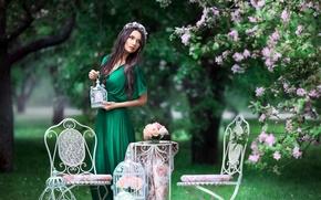 Картинка деревья, стулья, весна, платье, брюнетка, венок