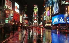 Картинка USA, cars, New York, Manhattan, NYC, New York City, roads, evening, people, Times Square, traffic, …
