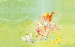 Картинка лето, настроение, игра, смех, арт, девочка, детская, поросёнок, Екатерина Бабок