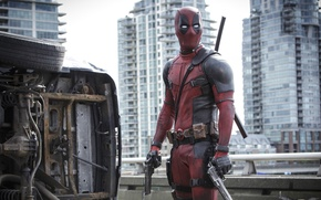Обои City, Action, Ryan Reynolds, Red, Car, Assassin, Black, with, and, Wallpaper, Deadpool, Year, MARVEL, Weapons, ...
