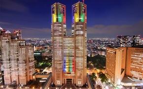 Обои небо, облака, ночь, огни, здания, дома, небоскребы, Япония, освещение, подсветка, Токио, Tokyo, Japan, синее, мегаполис, ...