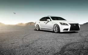 Картинка Lexus, white, wheels, LS460, frontside