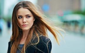 Картинка взгляд, девушка, ветер, милая, модель, волосы, красивая, голубоглазая, стильная, русая, Kristina Bazan, Кристина Базан