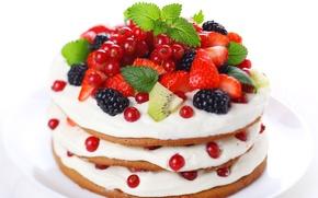 Картинка ягоды, киви, клубника, смородина, ежевика, тортик