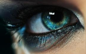Картинка взгляд, девушка, макро, глаз, ресницы, макияж, зрачок, тени, накрашены