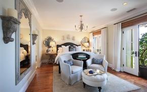 Картинка дизайн, кровать, зеркало, кресла, особняк, Design, спальня, Interior, Bedroom