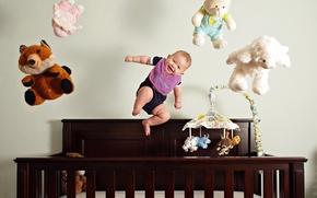 Картинка полет, радость, настроение, игрушки, ребенок, малыш, веселье, дитя, лялька
