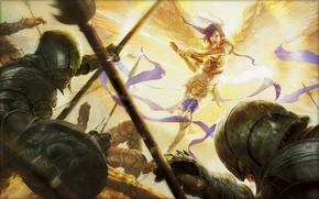 Картинка свет, атака, крылья, ангел, меч, доспехи, ярость, гоблины, Magic The Gathering, Aleksi Briclot, Akromas Vengeance