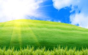 Картинка зелень, лето, небо, трава, солнце, лучи, свет, природа, настроение, рассвет, холмы, пейзажи, позитив, весна, утро, ...