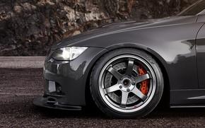 Картинка бмв, BMW, диск, black, 335i, суппорт, шина, E90, 3 Series