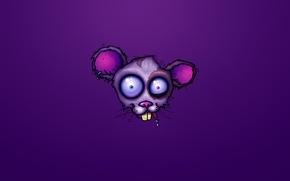 Картинка фиолетовый, голова, мышь, бешенство, crazy, mad