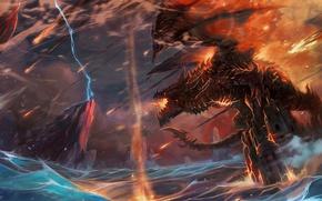 Картинка буря, wow, world of warcraft, смертокрыл, deathwing, шаман, катаклизм, thrall, shaman