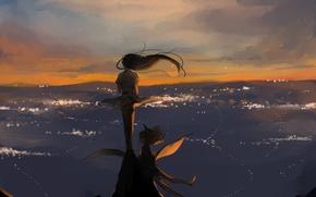 Обои девушка, небо, арт, ветер, аниме, волосы