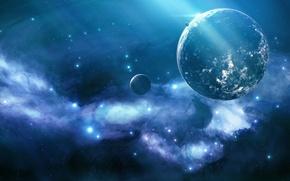 Картинка космос, туманность, сияние, планеты, звёзды, Blue nebula, unknown planet