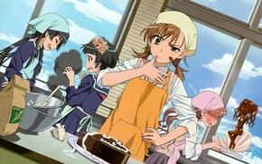 Картинка кухня, девчонки, Toaru Kagaku no Railgun, готовка, Сираи Куроко, Микото Мисака, Кадзари Уихару, Руико Сатэн