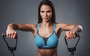 Обои model, look, pose, workout, fitness, shoulders, elastic bands