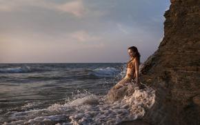 Картинка море, скала, океан, русалка