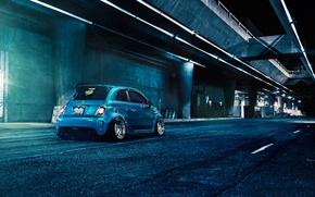 Картинка Blue, 500, Matte, Fiat, Abarth, Rear, Brushed, F132