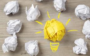 Картинка лампочка, поверхность, свет, бумага, креатив, позитив, белые, бумажки, желтая, центр, идея, hi-tech, wallpaper., technology, cyberspace, …