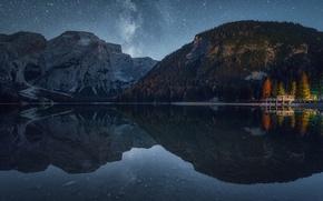 Обои лес, звезды, небо, ночь, осень, озеро, природа, горы, свет