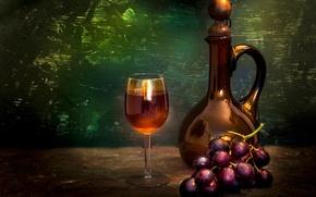 Картинка бокал, бутылка, виноград, гроздь, Still life