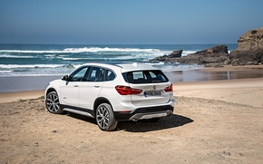 Картинка песок, море, пляж, берег, бмв, BMW, xDrive, паркетник, 2015, F48, xLine