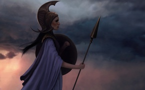 Картинка девушка, закат, арт, шлем, профиль, копье