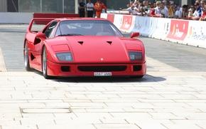 Картинка Красный, Авто, Машина, Феррари, Люди, Ferrari, F40, Суперкар, Supercar, Передок, Ferrari F40, F 40, Ferrari …